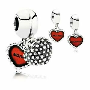NEW Genuine Pandora Charm 790950EN27 Mother and Daughter Piece of My Heart RED