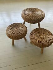 Extra Large Wicker Rattan Stool By Tony Paul Iconinc 1950s Design