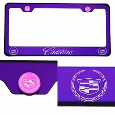 T304 Candy Purple License Frame Stainless Steel Silver New Cadillac Laser Etched