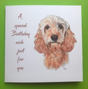 Beautiful Golden Cockerpoo Birthday Card