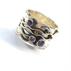 Solid 925 Sterling Silver Wide Band Amethyst Ring Unusual design  Size P