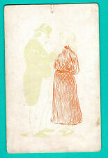 HTL hold to RED light erotic nude woman original 1910s Vintage postcard 907