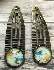 1 Pair Alice In Wonderland Hair Clips Hair pins Glass cameo Metal Setting