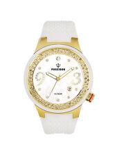 POSEIDON Damen-Armbanduhr  Analog Silikonband UP00425 Weiß/Goldfarb. UVP 159,- €