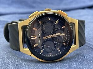 Bulova Men's Curv Chrono Rose Gold Case Black Rubber Band Watch 98A185 44mm B646