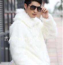 Men's Winter Warm Fur Coat Comfort Jacket Fox Fur Dress Outwear Overcoat B363