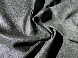 Pigskin leather hide Charcoal Grey Antique Distressed Crackle Print gloss finish