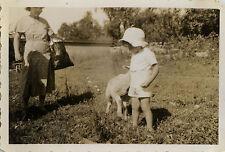 Vintage old photo-snapshot-child lamb stampede funny-child funny