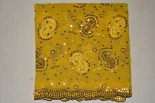 Vintage Golden Sequins Dupatta Long Scarf Hand Beaded Fabric Veil Stole Hijab L""