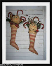 2 Primitive Christmas Stocking w/ Snowman face, Sweet Annie and Red Pip Berries