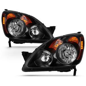 For 05 06 Honda CRV CR-V [Japan Built Model] Black Headlight LH RH Lamp Assembly
