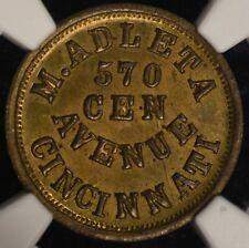 Cincinnati Civil War Brass Token M. Adelta Oh165A-6b Ngc Ms63