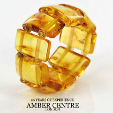 GERMAN BALTIC YELLOW HONEY AMBER HANDMADE ELASTIC ELEGANT RING RB029 RRP £35!!!