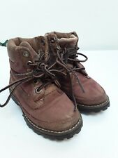 Boys Toddlers Infant Timberlands Brown Ankle Boots Size 7 Lace Ups Grip