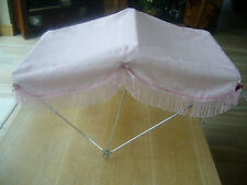 SUN CANOPY TO FIT SILVER CROSS DOLLS PRAMS PINK WITH ROSES/BLUE WITH ROSES