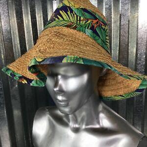 Panama Jack Original Vintage Foldable Travel Sun Hat Wide Brim floppy Straw Sz M