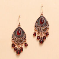 Beautiful Fashion Antique Bohemian Ruby Red Lucite Chandelier Earrings