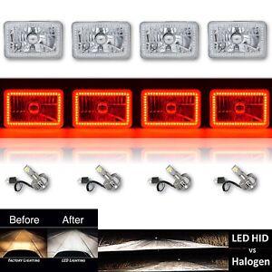 "4X6"" Red SMD Halo Glass / Metal Headlight 6000K 6K LED Light Bulb Headlamp Set"