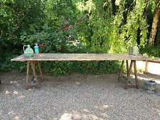Antique large vineyard workers trestle table 3 metres seats 12