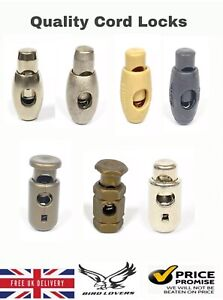QUALITY SINGLE HOLE TOGGLE SPRING STOP HOLE CORD LOCKS STOPPER VARIOUS COLOURS