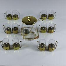 VTG Bowle Service Set 12 Personen Messing Glas 50er Jahre vintage alt Rumtopf