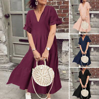 ZANZEA Women Deep V Flared Sleeve Long Shirt Dress Summer Midi Dress Plus Size