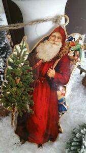 HOME KONTOR XMAS Anhänger Nikolaus Weihnachten Nostalgie 12x7cm Brocante Neu