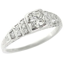 Antique Art Deco 0.40ct Old Mine Diamond Engagement Ring