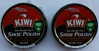Kiwi Shoe Boot Cream Polish Cleaner for Smooth Leathers  Black  and  Dark Tan