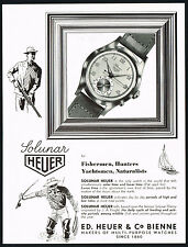 1950 Vintage Heuer Solunar Solar / Lunar Time Watch Fishing Hunting Art Print AD