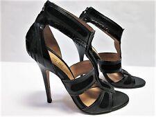 L.A.M.B. Gwen Stefani CAGED STILETTO SANDALS HEELS BLACK LEATHER SUEDE SIZE 10