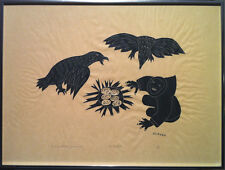 Peter Aliknak - S/N Inuit Stonecut Print (Holman) - Be Careful! (1970)