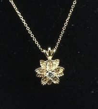 "14K FLOWER BUD PENDANT WITH DIAMOND ON 18"" sparkling CABLE CHAIN"