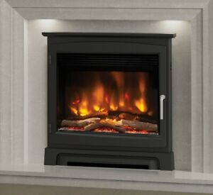 """ELECTRIC INSET FIRE MODERN LED REMOTE ELGIN & HALL PRYZM 22"""" CAST STOVE FRONT"""