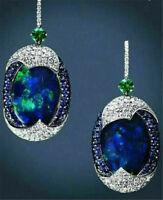 Woman 925 Silver Arrival Real Blue Opal Sapphire Ear Hook Hoop Earrings Wedding