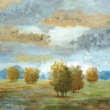 Nan: Lush Meadow II Fertig-Bild 30x30 Wandbild Bäume Landschaft Felder Wolken