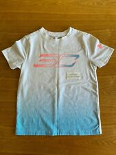 Steph Curry Under Armour T-Shirt Youth Size Small White Pink Blue #30 Heat Gear
