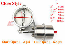 Stainless Steel 60mm Exhaust Control Valve Set Vacuum Actuator CLOSED Style