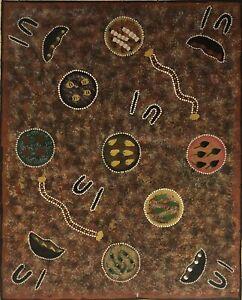 "Australian Aboriginal Hilda Nambula ""Bush Tucker"" Painting Utopia Art NT"