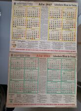 2x CALENDARIO OFICIAL DE FIESTAS 1966 Y 1967 32x25cm 10 ptas. MINIST. DE TRABAJO