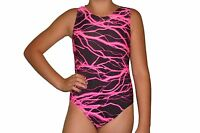 New girls gymnastic leotard neon pink and black lightning print