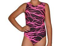 New girls gymnastic leotard neon pink and black lightning print