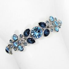 Givenchy Swarovski Crystal Bracelet Dark & Light Blue Silver Tone Metal MSRP $78