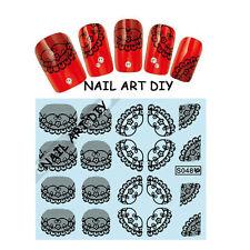 20 Adesivi per unghie con Pizzo Nero-Nail Art Stickers-Decals water transfer!