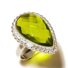 Handmade Designer Fashion Ring Us-7 Faceted Peridot Pear Gemstone silver plated