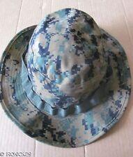 New USMC Woodland Digital Camo Boonie Hat Cap Green , EGA, Chin Strap MEDIUM