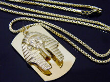 Pharaoh Necklace Pendant Box Chain Small Dog Tag King Tut Iced Out Hip Hop
