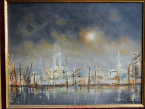 TABLEAU signé Marine port Toulon ciel orage bateaux huile sur toile superbe HST