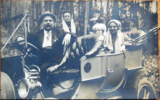 1910 Realphoto Postcard: People in Early Car/Automobile