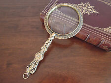 Unique antique ornate gilt brass magnifying glass, England c1780s-1850s symbolic